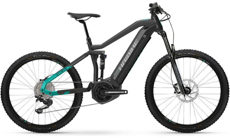 Haibike AllMtn 1 2021 in der Farbe anthracite / turqoise