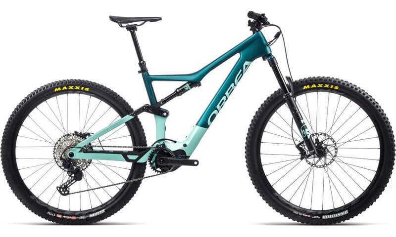 Orbea Rise M20 2021 in der Farbe eisgrün (glänzend) / ozeanblau (matt)