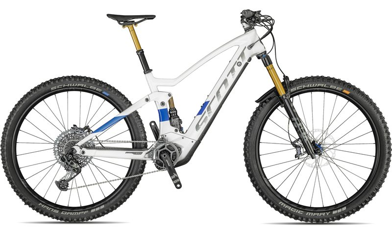 Scott Genius eRide 900 Tuned 2021 in der Farbe pearl snow white / prism blue